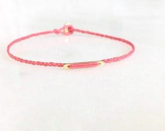 LITTLE BER. dainty minimal gold filled bar layering modern friendship bracelet