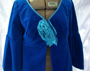 Vintage Jacket Peacock Blue Velvet with Flutter Bell Cuffs ~ Bohemian Gypsy Chic ~ Striking Single Flower Accent
