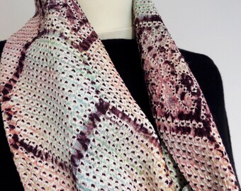 """S92 Limited edition! Japanese Honeycomb Shibori """"Twistr"""" scarf; Wine/multi super soft, 82cm/30"""":soft;FLATTERING;formal;chic;relaxed;easy!"""