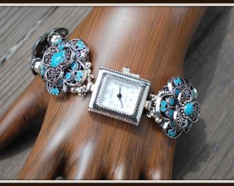 Blue Watch Bracelet, Flower Watch Bracelet, Chunky Watch Bracelet, Beaded Watch Bracelet, Blue Flower Watch, Bold Watch