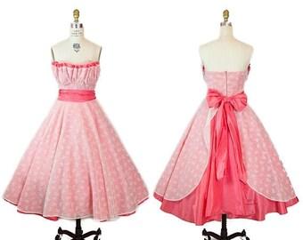 ON SALE 1950s Dress // Strapless Full Skirt Novelty Flocked Bow Print Party Dress