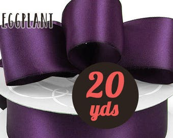 "Satin Plum Purple Ribbon - 7/8"" wide at 20 yards"