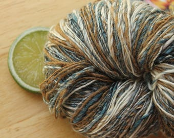 Ranch - Handspun Alpaca Merino Wool Silk Yarn Brown Blue Cream