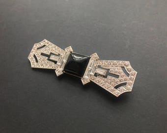 Deco Bar Brooch With Baguette Stones