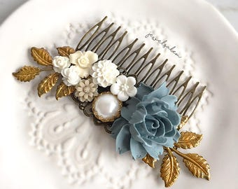 Sterling Blue Hair Comb Gold Wedding Bridal Hair Jewellery Elegant Romantic Hair Adornment for Bride Bridesmaids Gift Rustic Woodland Theme