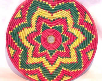 Handwoven Village Basket Tray Fuchsia Yellow Green