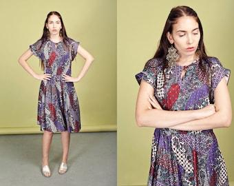 70s Purple Paisley Print Dress Vintage Secretary Spring Dress