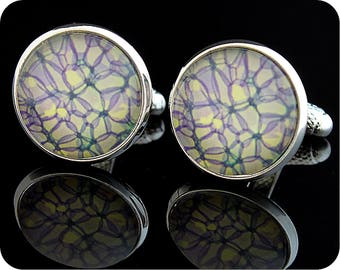 Biology Cufflinks - Gift for a Scientist - Microscope photo of rose stem section - Science cuff links - plant cells - Rose cufflinks -