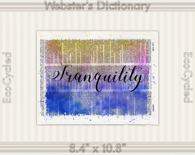 Tranquility Inspirational Quote on Vintage Upcycled Dictionary Art Print Book Art Print meditation mindfulness gift motivational art