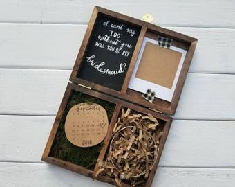 Wooden bridesmaid proposal gift box