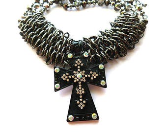 CLIP ON Designer Cross Pendant, Black & Rhinestone plus AB Crystals Vintage Cross, Statement Cross Necklace, Unlimited Looks Cross, Large