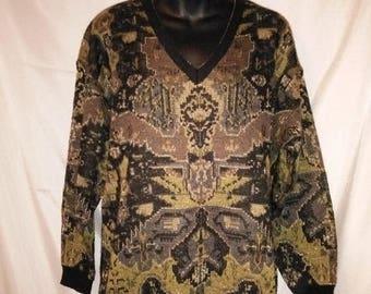 "BIG SUMMER SALE 80s Vintage Metallic Wool Pullover Sweater-Anne Klein Knitwear-Size 6-Medium-38"" Bust-Hipster Jumper-Disco Party Club"