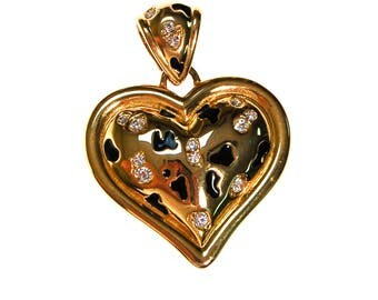 Alana Stewart Gold Puffy Heart Pendant, Leopard Print and Rhinestones, Reversible, Statement Necklace