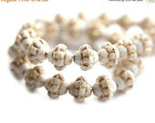 ON SALE 6mm Fancy Bicones, White with golden wash Czech glass pressed beads - 30Pc - 1278
