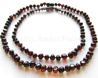 Baltic Amber Teething Set for Baby and Mommy, Cherry Color Rounded Beads