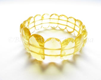Baltic Amber Bracelet, Lemon Color Faceted