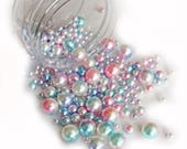 Reneabouquets Beautiful Beads ~ Iridescent Pearls In Color Unicorn Candy Choose Your Size .6 oz Jar or 1.6 oz Jar