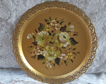 Vintage Serving Tray, Nashco NY, Gold Decorative Tray, Tole Tray with Hand Painted Flowers, Cottage, Shabby Chic Decor