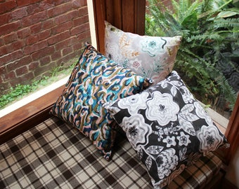 Two Throw Cushions - Handmade Cotton Linen Canvas Patterned Cushion Covers