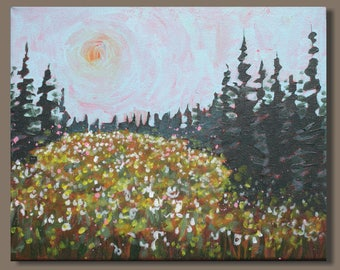 semi abstract painting, alpine field painting, small painting, landscape painting, impressionism, British Columbia, wildflowers, gift