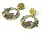 1960's Vintage Costume Jewelry Ballerina Grand Piano Brass Copper Silvertone Pierced Post Dangle Musical Primitive Mid Century Earrings