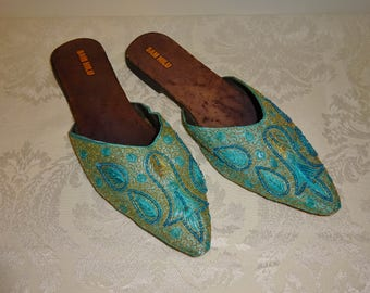Vintage Shoes Sam Hilu Slippers Mules Turquoise Beaded Shoes Size 8 Boudoir Slippers