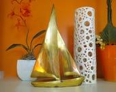 Vintage 1970s MID Century Modern Gold Solid Brass Metal Sailboat Art Sculpture Nautical Maritime