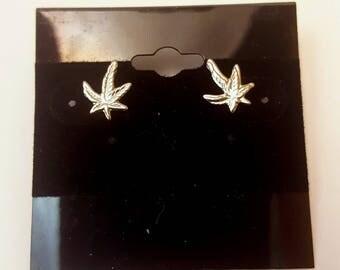 Silver-Toned Dainty Hemp Leaf Stud Earrings