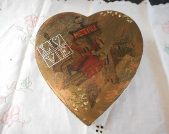 Love Paris heart gift box, decorated mixed media, gold, red, black, jewellery or trinket box or love letter box