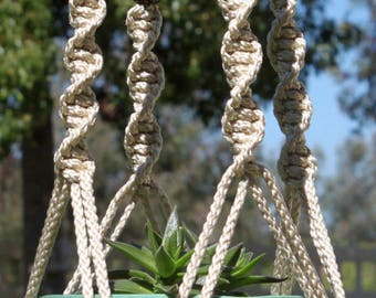 CIRQUE - Handmade Macrame Plant Hanger Plant Holder with Wood Beads - 6mm Braided Poly Cord in PEARL