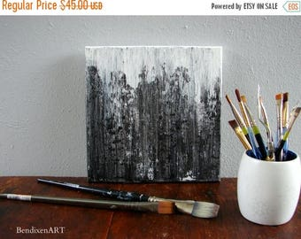 CLEARANCE Mixed Media Original Abstract Painting, Modern Home and Office Wall Decor, Black and White Minimalist Art, Anniversary for Husband