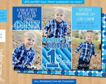 1st birthday boy invitation boy first birthday invitation 1st birthday invitation boy 1st birthday boy invite Blue boy first birthday theme