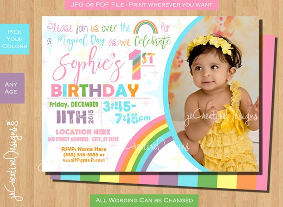 Pastel Rainbow birthday party invitations Pastel Rainbow invitation