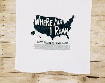 National Parks, Tea Towel, Tea Towel Set, Flour Sack Towel, Hostess Gift, Housewarming, Gift, Outdoor Lover Gift, Explore America