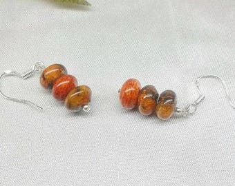 Spring Earrings Orange Jasper Earrings Dangle Earrings Orange Earrings Sterling Silver Earrings or Gold Filled Earrings BuyAny3+1 Free