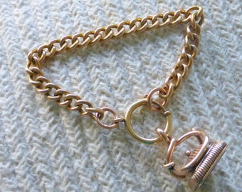 Unique Heavy 9ct gold antique SERPENT blood stone wax stamp fob bracelet
