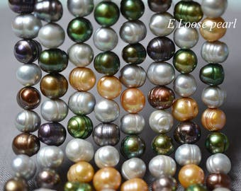 Potato pearl Large hole pearl Freshwater Pearl Loose pearls Potato pearl necklace 8.5-9.5mm Multicolor 44pcs Full Strand PL2333