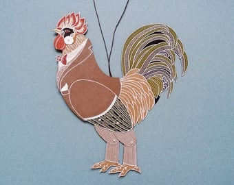 Articulated paper doll Rooster Cock puppet funny boyfriend gift birthday present chinese horoscope coworker gift man fashion dubrovskaya