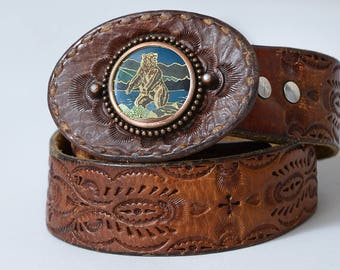 70s Tooled Leather Belt Mountain Bear Hippie Belt