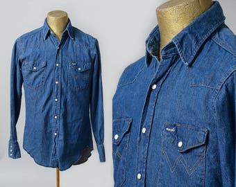 80s Wrangler Denim Western Pearl Snap Ranch Shirt