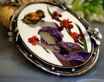 Mosaic Pendant Beautiful Necklace Sterling Silver Jewelry