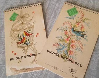 Set of 2 Westab Bridge Score Pads. Circa 1940/1950. Used,some stains on covers.