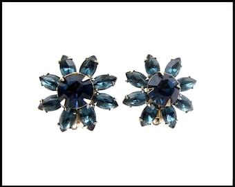 Montana Bue Rhinestone Earrings, London Blue Topaz Rhinestone Flowers, Blue Ear Climbers, Blue Bridesmaid Earrings, Gift For Her