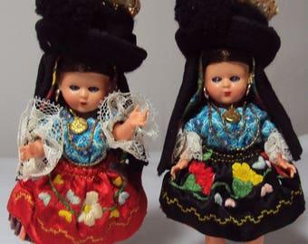 2 Vintage Nazare Portugal Souvenir Dolls Sleepy Eyes