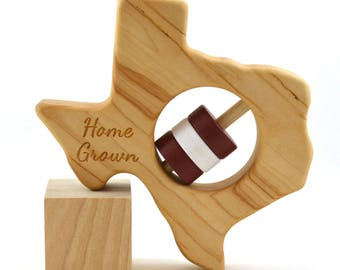 Wooden Baby Rattle - Pick Any State - Home Grown Wooden Baby Rattle - Christmas or Nursery Gift