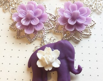 Purple Elephant and Purple Flower Necklace.