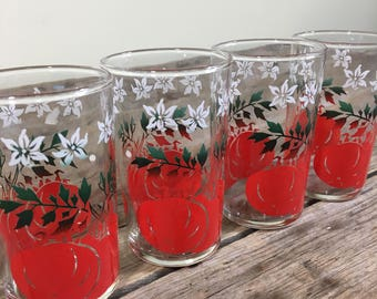 Juice glasses, Tomato Pattern, Dominion Glass