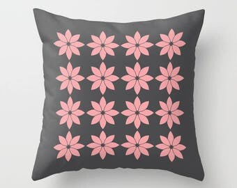8 colours, Vintage Rose, Minimalist Flowers Pillow, Charcoal Black, Modern Rustic, Nordic style, Faux Down Insert, Indoor or Outdoor cover