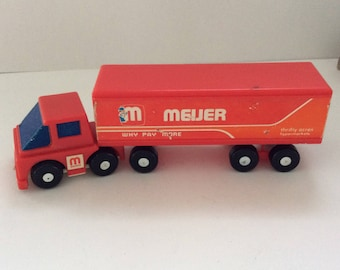 Meijer Delivery truck and Trailer - 80s -Vintage advertising -  made in Hong Kong - Man Cave Decor - Meijer truck gift - Thrifty Acres