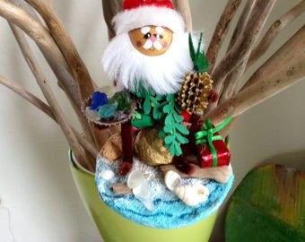 Sea Glass - Merry Christmas - beach - Holiday Decor-  Hawaiian Santa - Handmade Christmas Ornament - Hawaii St Nick - handmade original
